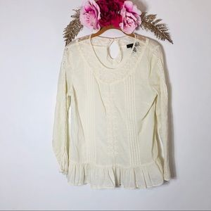 Sweet Magnolia Cotton Top with Sheer Lace Detail